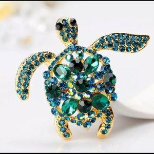 🆕Green/ Aqua Blue Rhinestone Sea Turtle Brooch